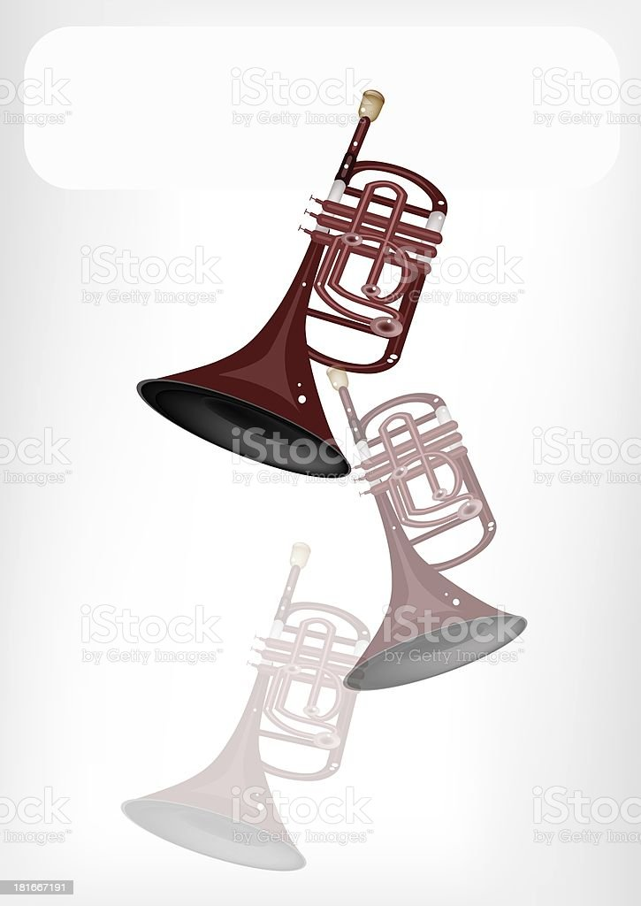 Musical Cornet with A White Banner royalty-free musical cornet with a white banner stock vector art & more images of air valve