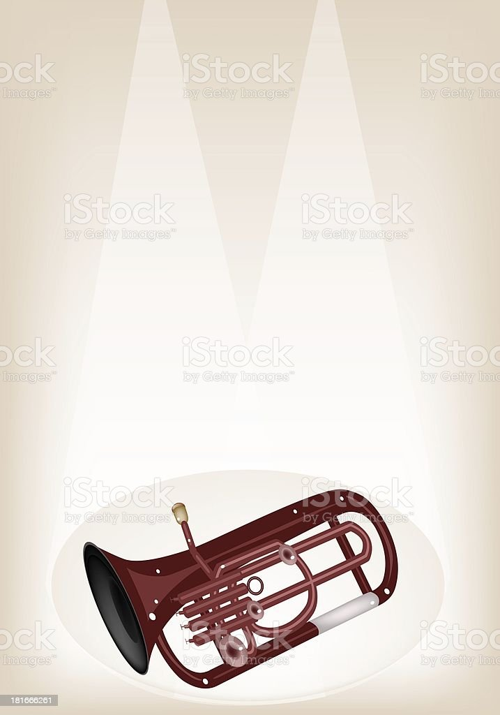 Musical Euphonium on Brown Stage Background royalty-free stock vector art
