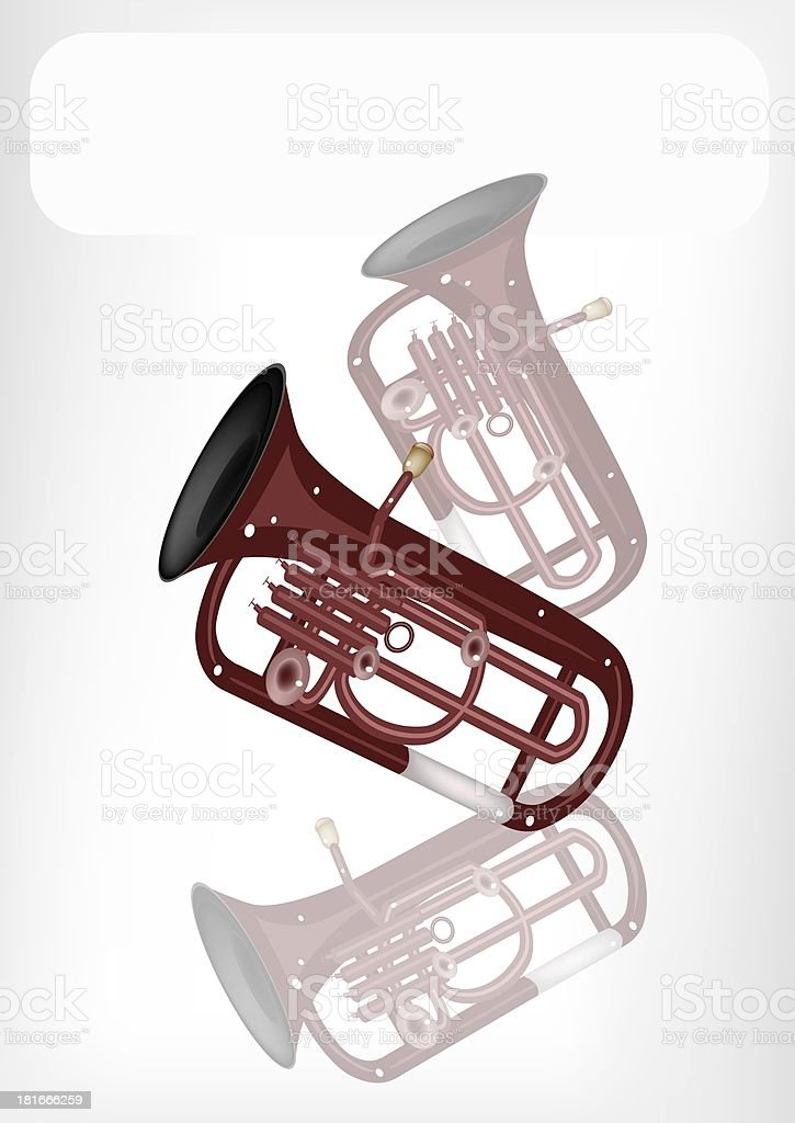 Musical Euphonium with A White Banner royalty-free stock vector art