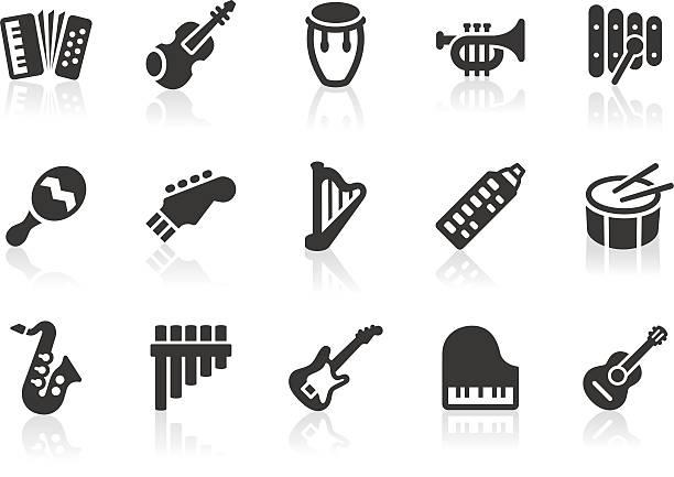 ikony z instrumentów muzycznych - instrument muzyczny stock illustrations