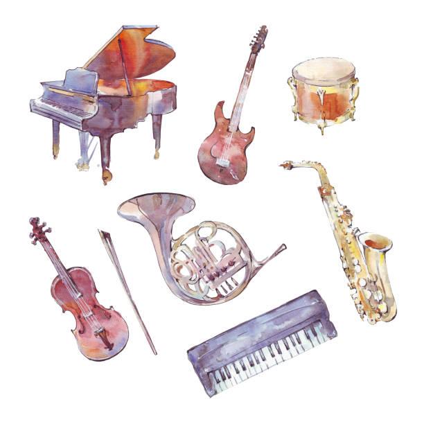 楽器水彩セット - 楽器点のイラスト素材/クリップアート素材/マンガ素材/アイコン素材
