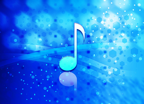 Musical note icon abstract light cyan blue hexagon pattern background