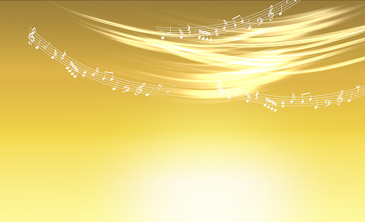 Musical notes and glittering golden background