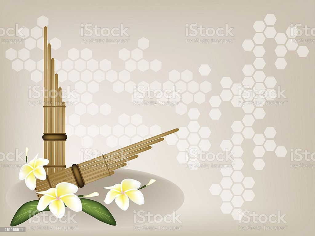 Musical Pan Flute and Plumeria Flower on Brown Background royalty-free stock vector art