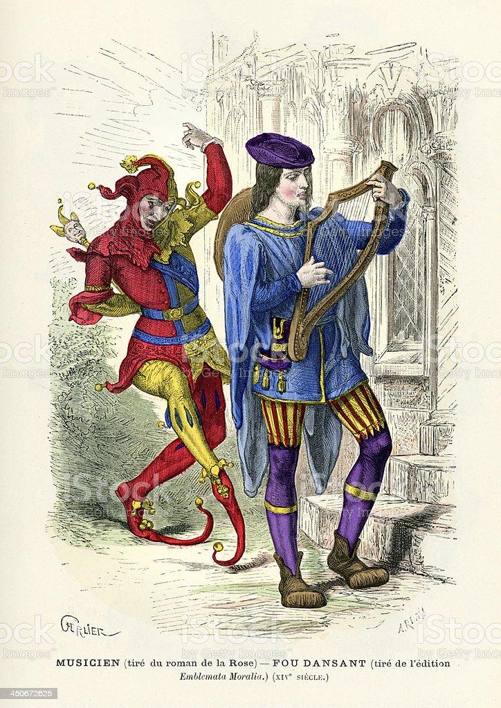 Musicien et Court bouffon - Illustration vectorielle