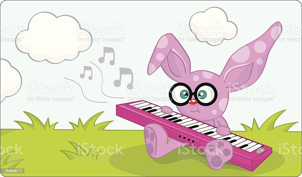 musician purple rabbit making the music on field royalty-free musician purple rabbit making the music on field stock vector art & more images of animal