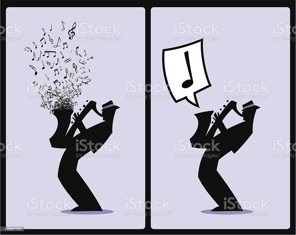 Musicista Silhouette Sax Player - illustrazione arte vettoriale