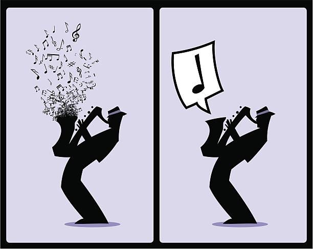 Silhueta de jogador de saxofone Músico - ilustração de arte em vetor
