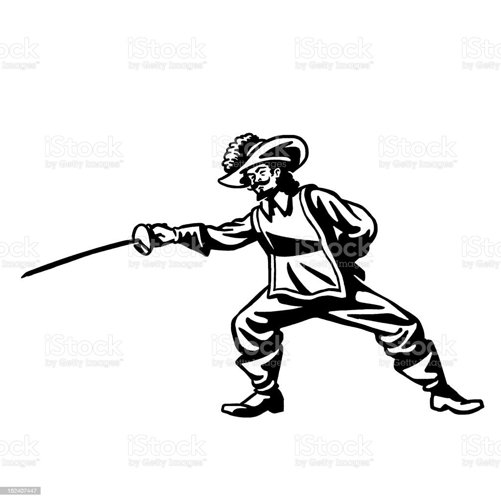 Musketeer Brandishing Sword royalty-free musketeer brandishing sword stock vector art & more images of adult