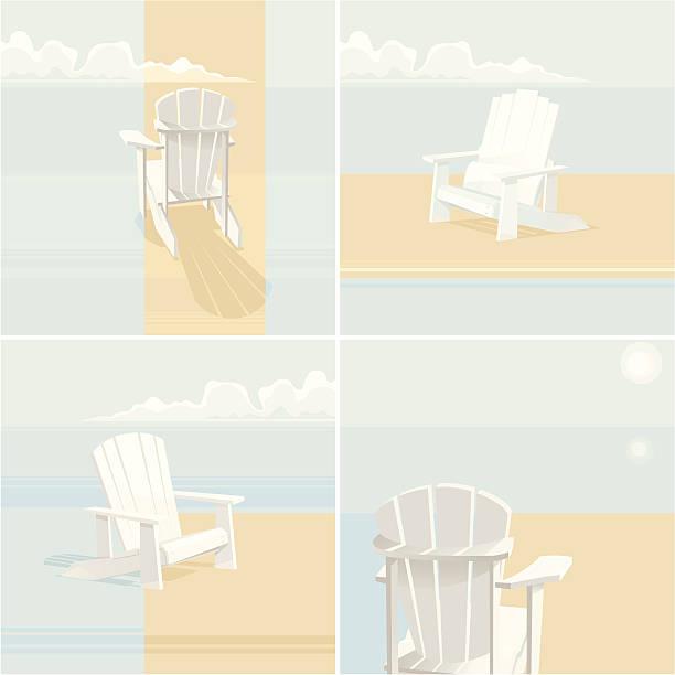 Muskoka Set Four white Muskoka chairs. Design elements. Vector. EPS 8. adirondack chair stock illustrations