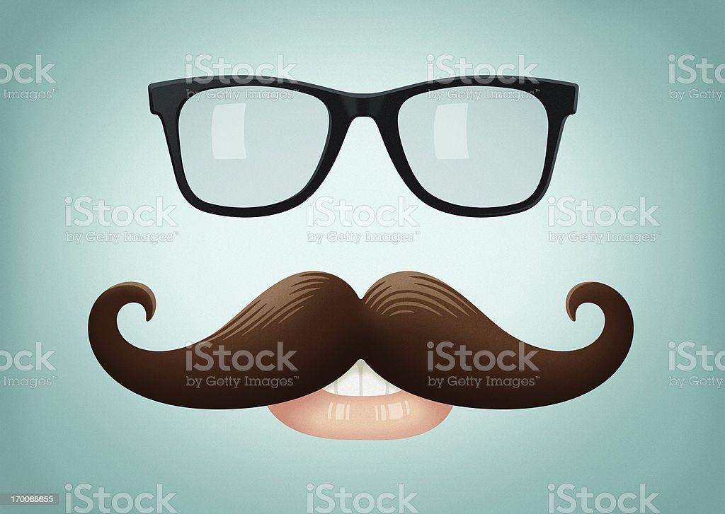 Mustache and Glasses royalty-free stock vector art