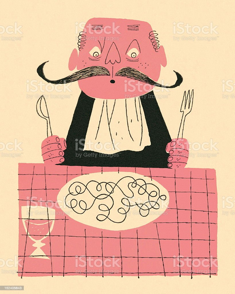 Mustache Man About to Eat vector art illustration