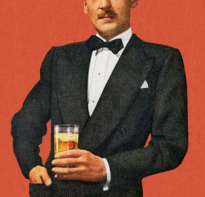 Mustache Man In Tuxedo Holding Drink
