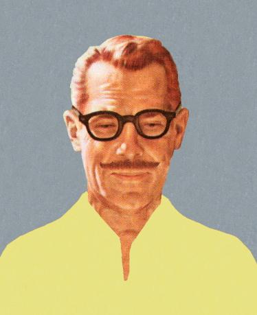 Mustache Man Wearing Glasses