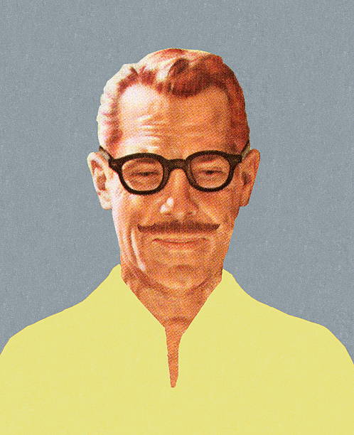 mustache man wearing glasses - old man faces stock illustrations, clip art, cartoons, & icons
