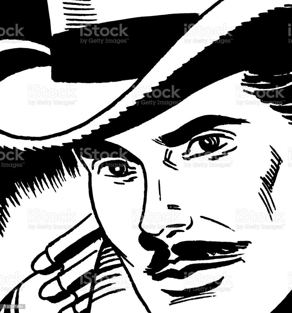 Mustache Man Wearing Hat vector art illustration