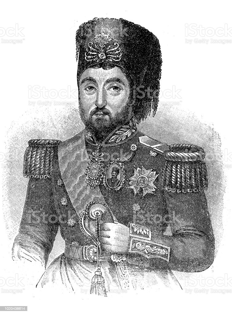 Mustafa Reshid Pasha (1800-1858). Turkish statesman vector art illustration