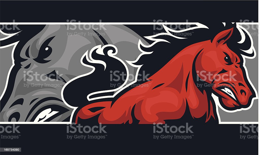 Mustang banner design vector art illustration