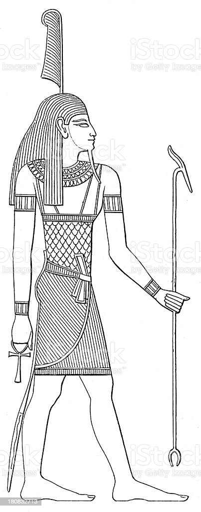 Mut (antique wood engraving) royalty-free stock vector art