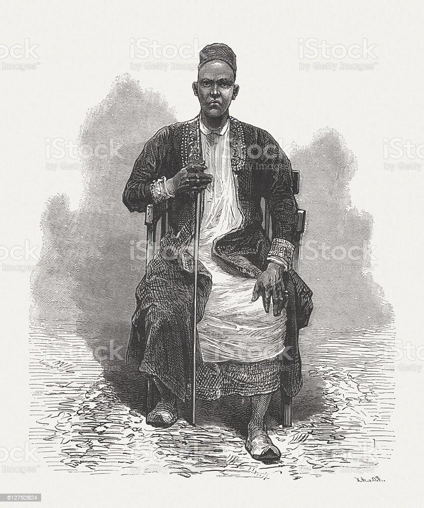 Muteesa I (1837-1884), Kabaka of Buganda, wood engraving, published 1882 vector art illustration
