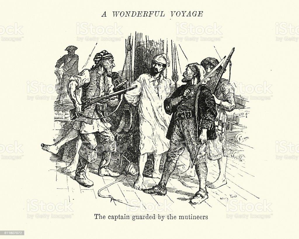 Mutiny on the Bounty - Captain Bligh under guard vector art illustration