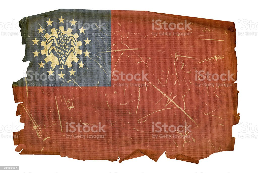 Myanmar Flag old, isolated on white background. royalty-free myanmar flag old isolated on white background stock vector art & more images of aging process