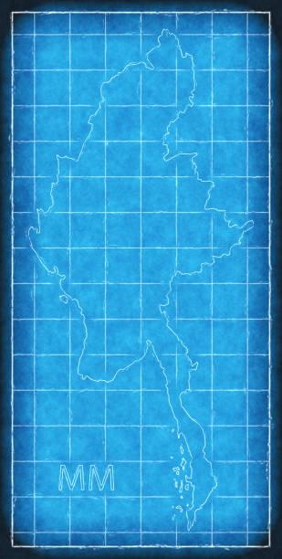 myanmar map blue print artwork illustration silhouette - burma home do stock illustrations