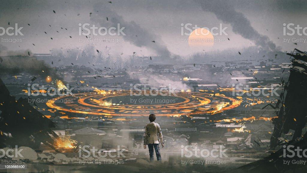 mysterious circle in apocalypse city vector art illustration