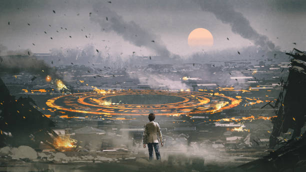 mysterious circle in apocalypse city post apocalypse scene showing the man standing in ruined city and looking at mysterious circle on the ground, digital art style, illustration painting demolished stock illustrations