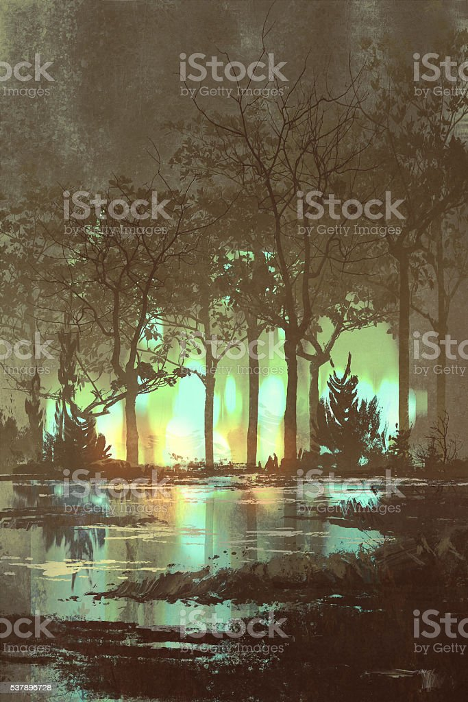 mysterious dark forest with mystic light at night vector art illustration
