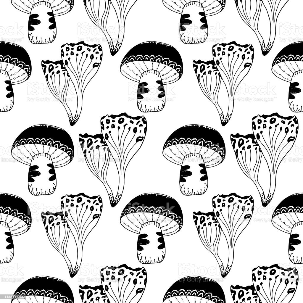 Mysterious forest mushrooms seamless pattern line art on white...