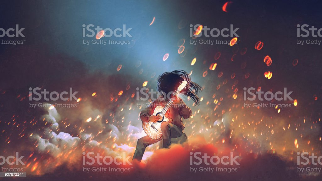 mysterious man with glowing guitar vector art illustration