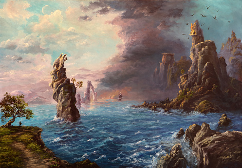 Mysterious shores, oil painting