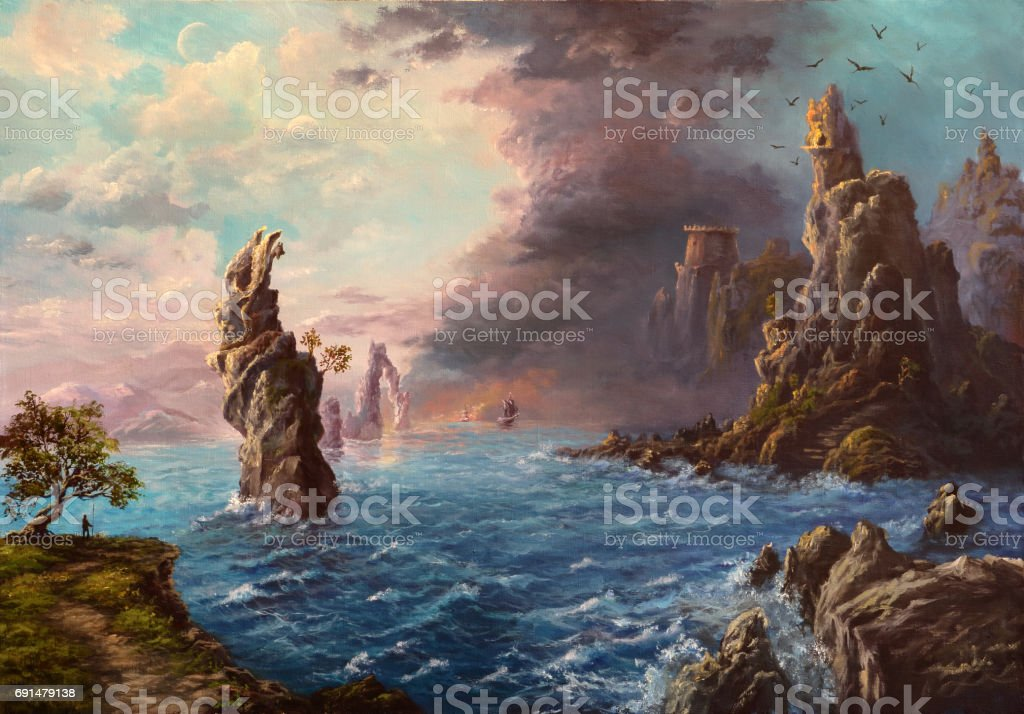 Mysterious shores, oil painting vector art illustration