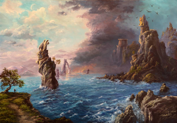 mysterious shores, oil painting - fantasy stock illustrations