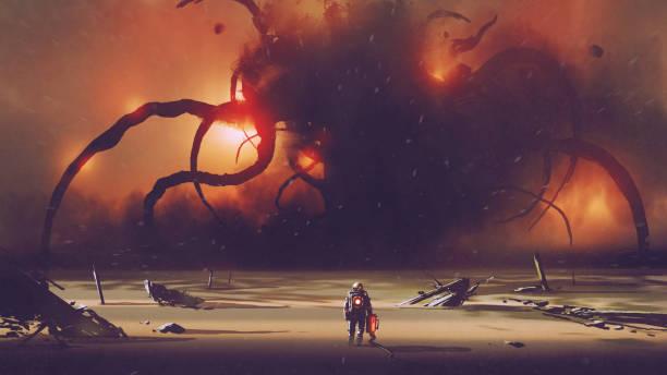 stockillustraties, clipart, cartoons en iconen met mysterieuze ding op de horizon - buitenaards wezen