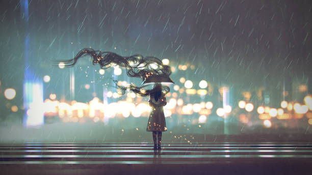 mysterious woman with umbrella vector art illustration