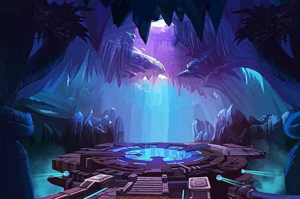 mystery cave with sci-fi building - fantasy stock illustrations
