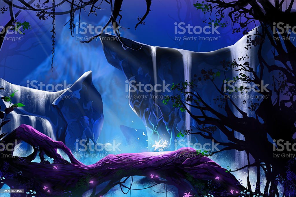 Mystery Glowing Flower in the Deep Forest. vector art illustration