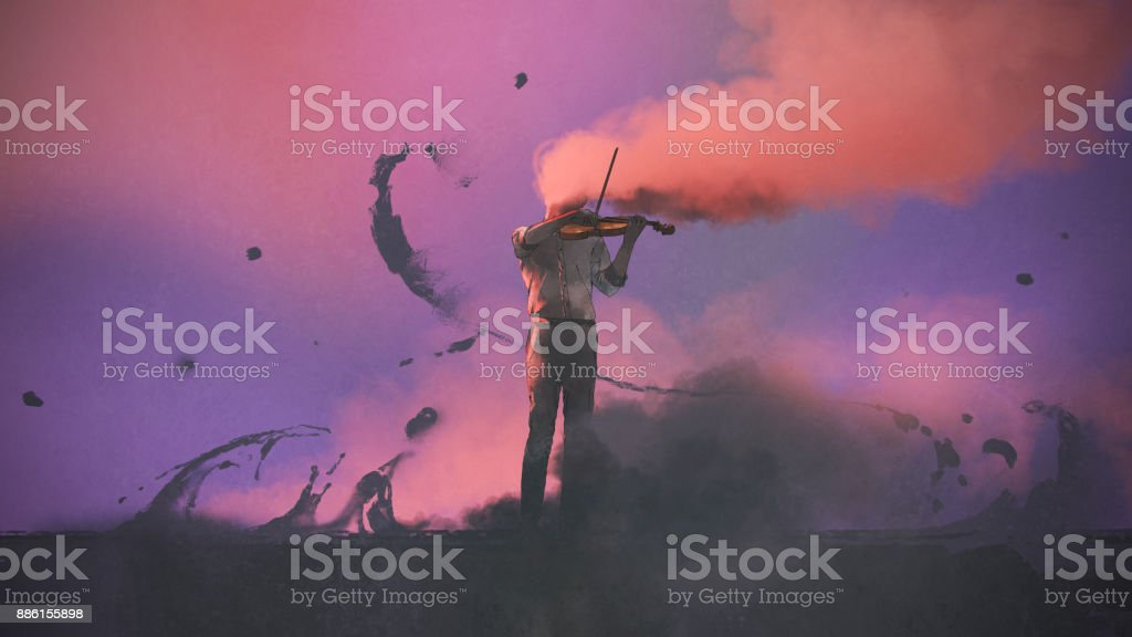 mystery musician playing a violin vector art illustration