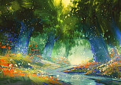 ミスティックブルーとグリーンの森のような雰囲気