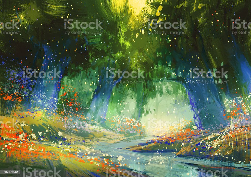 mystic blue and green forest,fantasy atmosphere vector art illustration