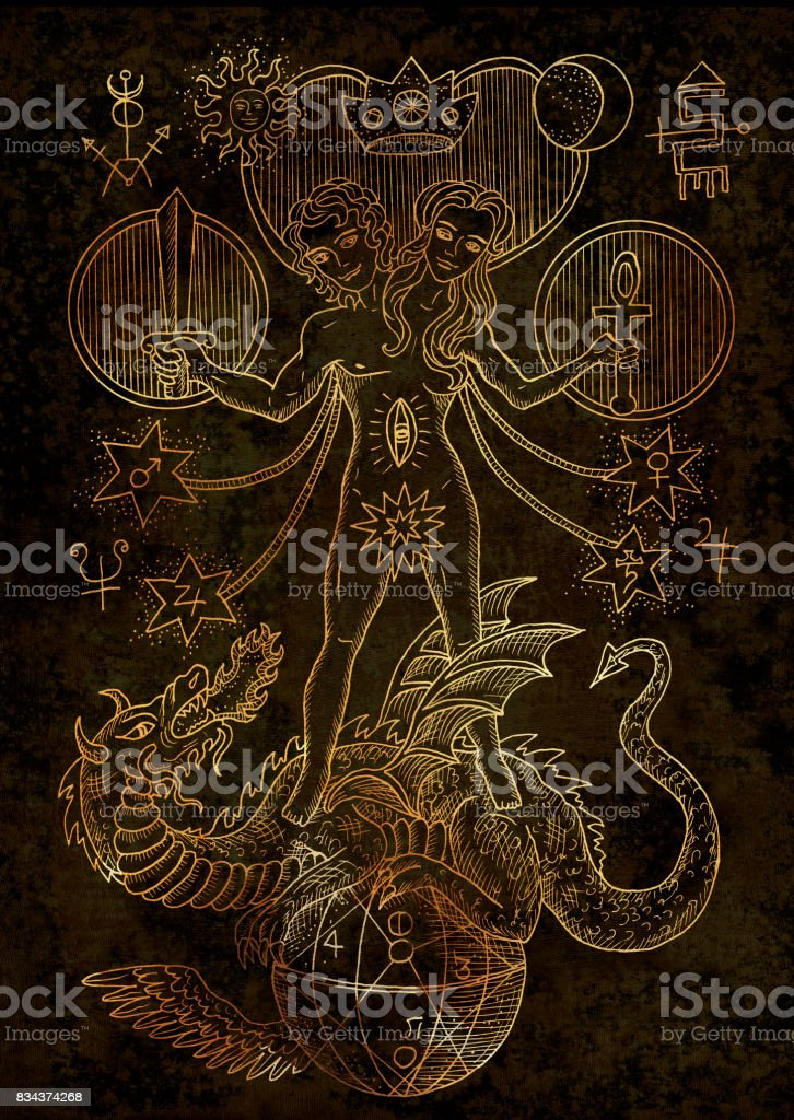 Mystic Illustration With Spiritual And Alchemical Symbols On Texture