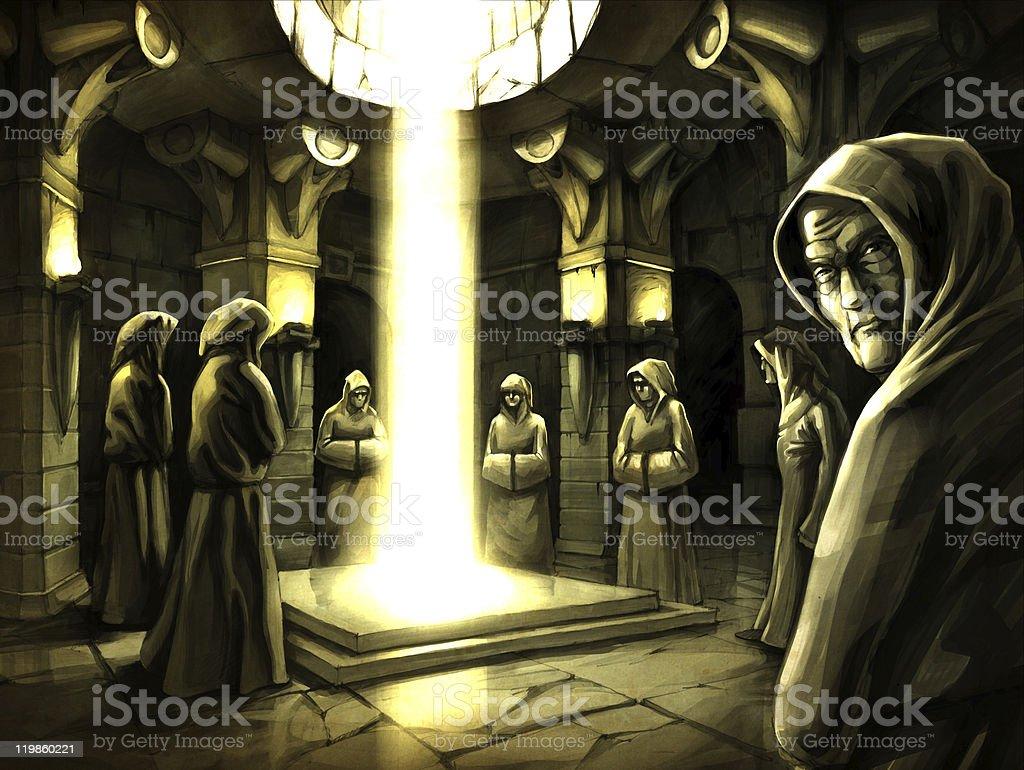 Mystic ritual. vector art illustration