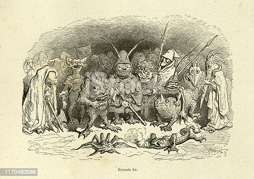 Vintage illustration from the story Orlando Furioso. Mythical monsters, goblins and beasts. Orlando Furioso (The Frenzy of Orlando) an Italian epic poem by Ludovico Ariosto, illustrated by Gustave Dore. The story is also a chivalric romance which stemmed from a tradition beginning in the late Middle Ages.