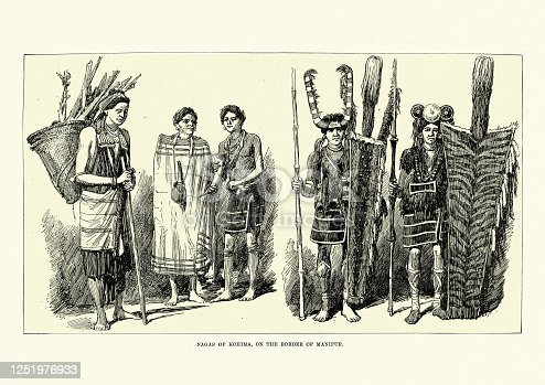 Vintage illustration of Naga people of Kohima, India in traditional costume, 19th Century.