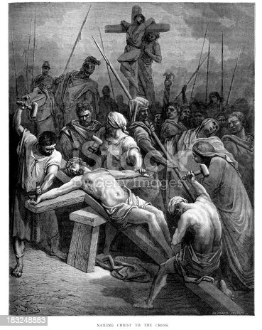 Vintage engraving from the 1870 of a scene from the New Testament by Gustave Dore showing the Nailing Christ to the Cross