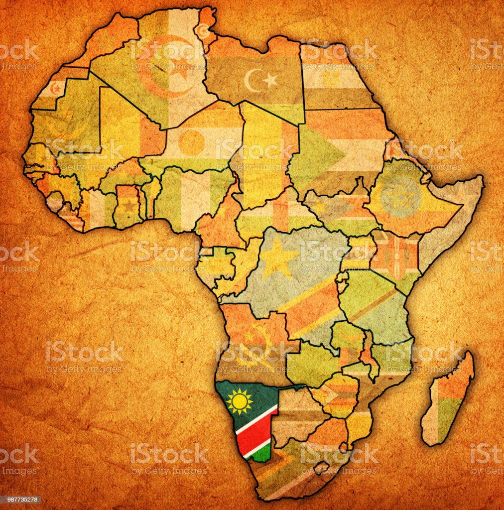 Namibia On Africa Map.Namibia Flag On Political Map Of Africa Stock Vector Art More