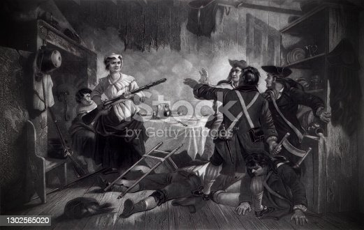 Vintage illustration features Nancy Morgan Hart (1735–1830), a rebel heroine of the American Revolutionary War noted for her exploits against Loyalists in the northeast Georgia backcountry. In this scene, she captured six British Loyalists (Tories) and killed one, and later oversaw the hanging of five others.