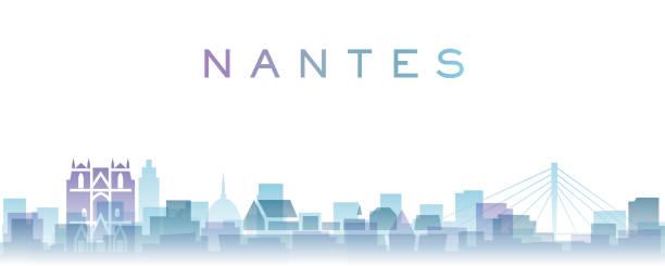 illustrations, cliparts, dessins animés et icônes de nantes transparent layers gradient landmarks skyline - nantes